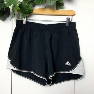 ADIDAS Black White Striped Athletic Logo Shorts